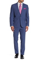 Kenneth Cole Reaction Blue Checked Two Button Notch Lapel Suit 432Blue