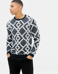Tom Tailor Knitted Jumper With Geometric Jacquard In Navy