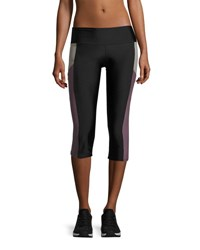 Onzie Pocket Capri Performance Leggings Black Purple Black Purple