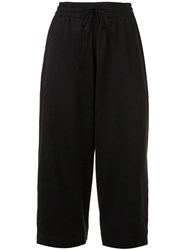 Y 3 Cropped Drawstring Trousers Black