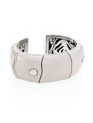 John Hardy Bamboo Large Enamel And Sterling Silver Kick Cuff White