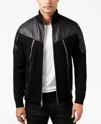 Inc International Concepts Men's Mixed Media Bomber Jacket Only At Macy's Deep Black