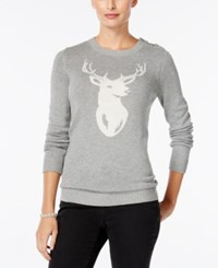 Charter Club Deer Graphic Sweater Only At Macy's Heather Platinum Combo