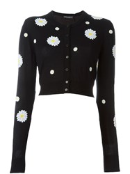 Dolce And Gabbana Daisy Appliqua Cardigan Black