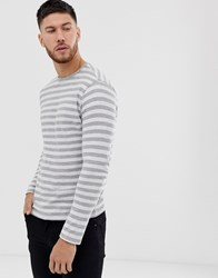 Only And Sons Striped Long Sleeve T Grey