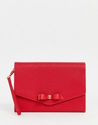 Ted Baker Krystan Leather Envelope Clutch Red
