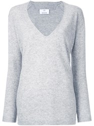 Allude Deep V Neck Knitted Top Grey