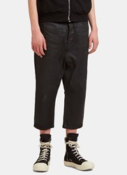 Rick Owens Treated Cropped Leg Jeans Black