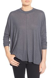 Junior Women's Sun And Shadow Mock Neck Dolman Tee Grey Medium Charcoal Heather