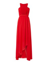 Studio 75 Sleeveless High Neck Cut Out Detail Maxi Dress Red