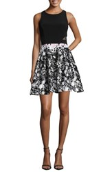Xscape Evenings Print Skirt Party Dress Black Pink