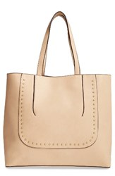 Sole Society Adelaine Studded Faux Leather Tote Brown Latte