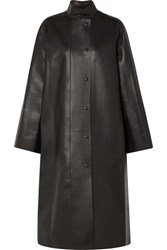The Row Emely Leather Coat Dark Brown