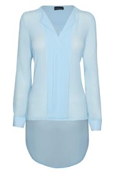 James Lakeland Pleat Front Long Sleeve Blouse Light Blue