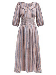 Three Graces London Arabella Striped Linen Blend Midi Dress Navy Stripe