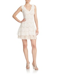 Betsy And Adam Lace Fit And Flare Dress Ivory Blush
