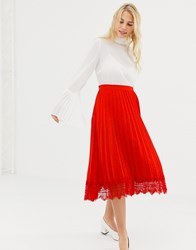 Liquorish Pleated Mid Skirt With Lace Trim Red