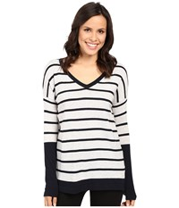Fate Long Sleeve Stripe V Knit Grey Navy Women's Long Sleeve Pullover Multi