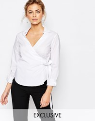 Closet Wrap Front Cotton Shirt White