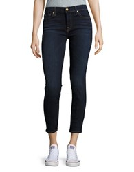 7 For All Mankind Dark Wash Ankle Super Skinny Jeans Blue