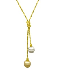 Majorica Sterling Silver Necklace Organic Man Made Baroque Pearl Love Knot Lariat