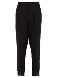 Ann Demeulemeester Distressed Cuff Hemp Trousers Black