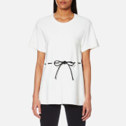 Alexander Wang Women's Peplum T Shirt With Leather Drawstring Cord White