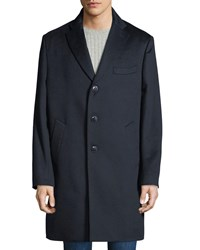Neiman Marcus Cashmere Three Button Top Coat Navy