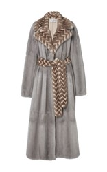 J. Mendel Mink Wrap Coat Grey