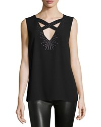Bcbgmaxazria Joline Sleeveless Crisscross Top Black