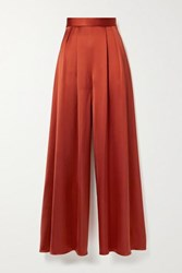Brandon Maxwell Pleated Silk Satin Wide Leg Pants Tomato Red