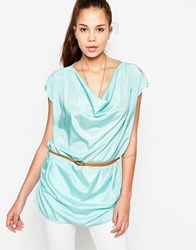 Jasmine Top With Drape Front And Belt Blue