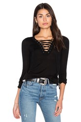 Roi Lace Up Long Sleeve Sweater Black