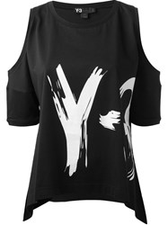 Y 3 Logo Print Cut Out Shoulder T Shirt Black