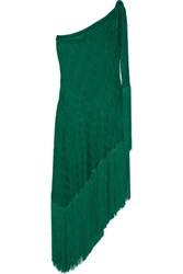 Missoni Mare Asymmetric One Shoulder Fringed Crochet Knit Dress Emerald