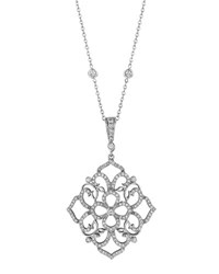 Penny Preville 18K White Gold Diamond Lace Pendant Necklace