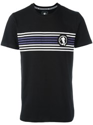 Dirk Bikkembergs Striped Print T Shirt Black