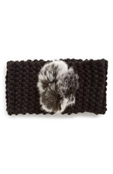 Dena Ear Warmer Pompom Headband Black