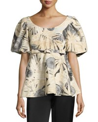 Co Belted Puff Sleeve Brocade Top Black White Black White