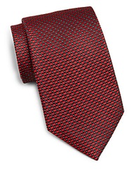 Saks Fifth Avenue Black Dot Silk Tie Red