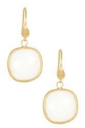 Rivka Friedman 18K Gold Clad Faceted Cushion White Agate Dangle Earrings