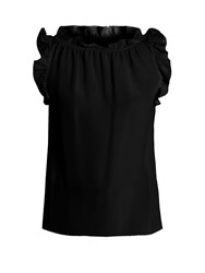 Goat Willow Ruffle Trimmed Sleeveless Silk Top Black