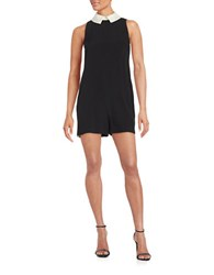 Rachel Zoe Sateen Colorblocked Romper Black White