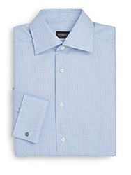 Ermenegildo Zegna Regular Fit Chevron Striped Dress Shirt Blue Stripe