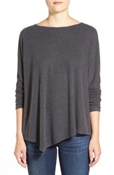 Petite Women's Caslon Asymmetrical Fuzzy Knit Top Heather Charcoal