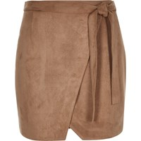 River Island Womens Brown Faux Suede Wrap Mini Skirt