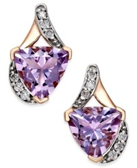 Macy's Pink Amethyst 3 1 5 Ct. T.W. And Diamond 1 8 Ct. T.W. Stud Earrings In 14K Rose Gold