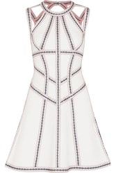 Herve Leger Cutout Embroidered Stretch Pointelle Knit Mini Dress White
