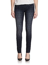 Cut Of Individuality Crest Printed Skinny Jeans Bright Blue
