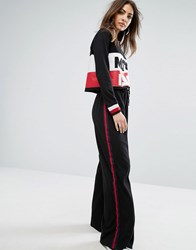 Daisy Street Wide Leg Joggers With Sports Stripe Black